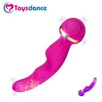 Toysdance Adulte Sex Toys Double Moteurs 10 Vitesse Silicone Av Baguette Vibrateur Femelle Érotique Corps Massager Chauffage Rechargeable