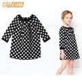 Arrival New 2017 Princess Summer Baby Girls Black Dress White Polka Dots Children Fashion Dresses For Little Girl Dresses