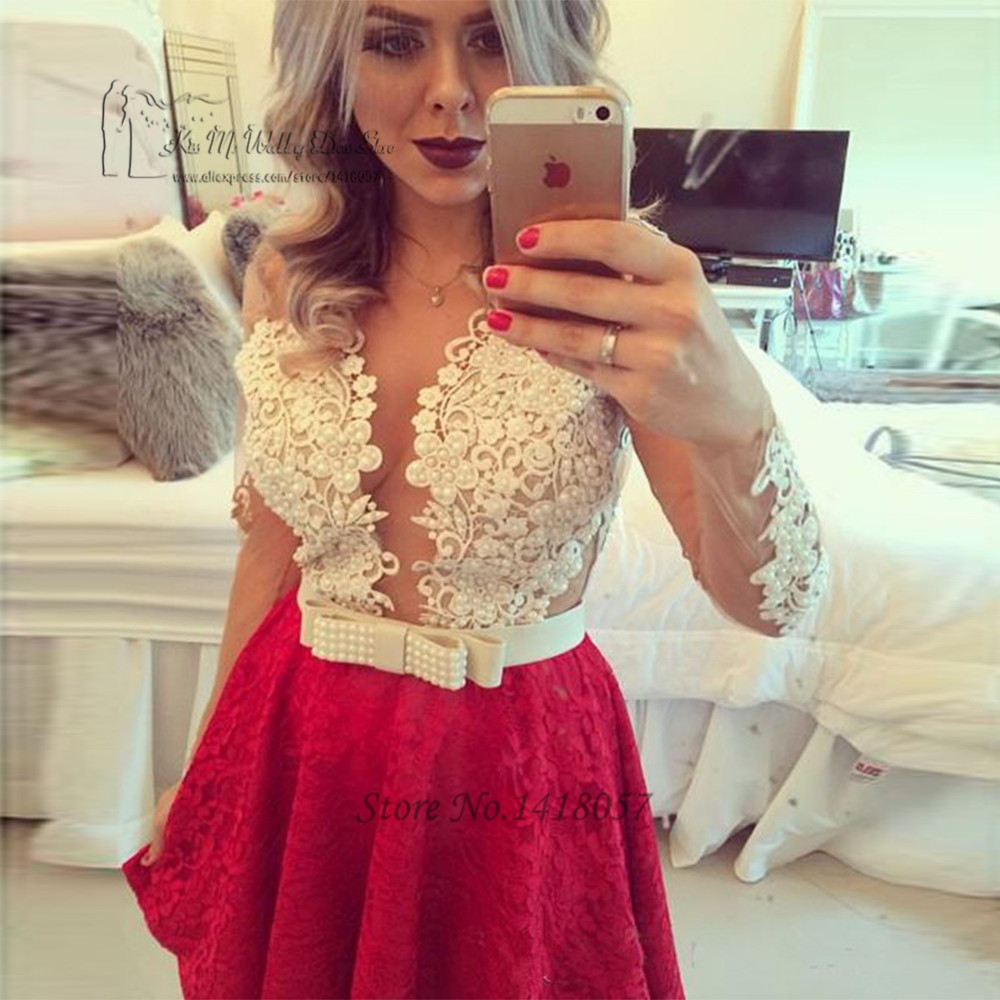 Vestidos de Festa Curto e Elegant   Cocktail     Dresses   2017 Red White Lace Party   Dress   Sexy Beaded Long Sleeve Prom Dressses Cheap