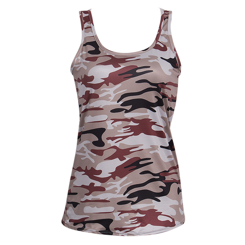 S 4XL Fashion Womens Ladies Summer Vest Top Active Sleeveless Camouflage Round Neck Casual Tank Tops