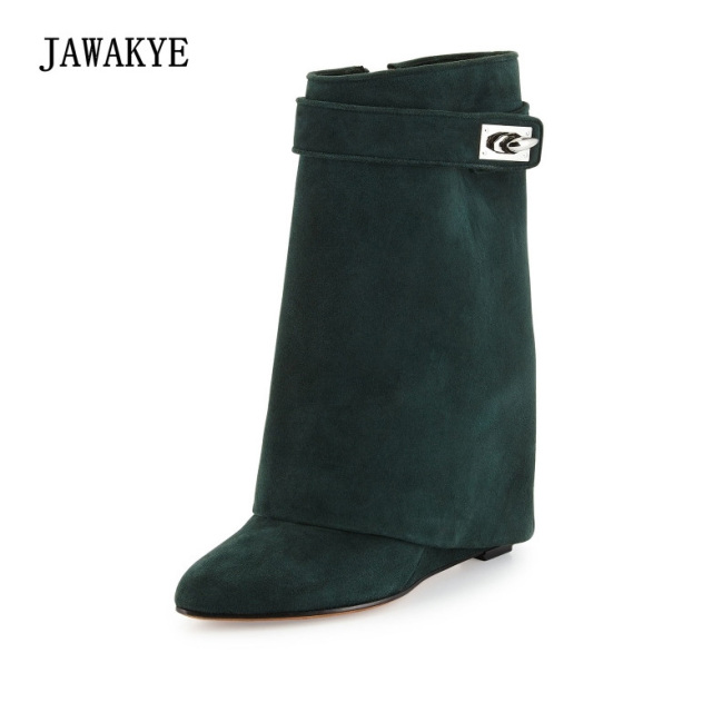 JAWAKYE Metal Shark-Lock Women Boots Designer Luxurious Leather Mid Calf Winter Shoes Woman Wedges Increasing Height Layer Boots