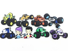 9 Pcs PVC Blaze and the Monster Machines Shoe accessories Shoe Charms Shoe Decorations  with 8pcs Bracelet Wristband Kid Gift