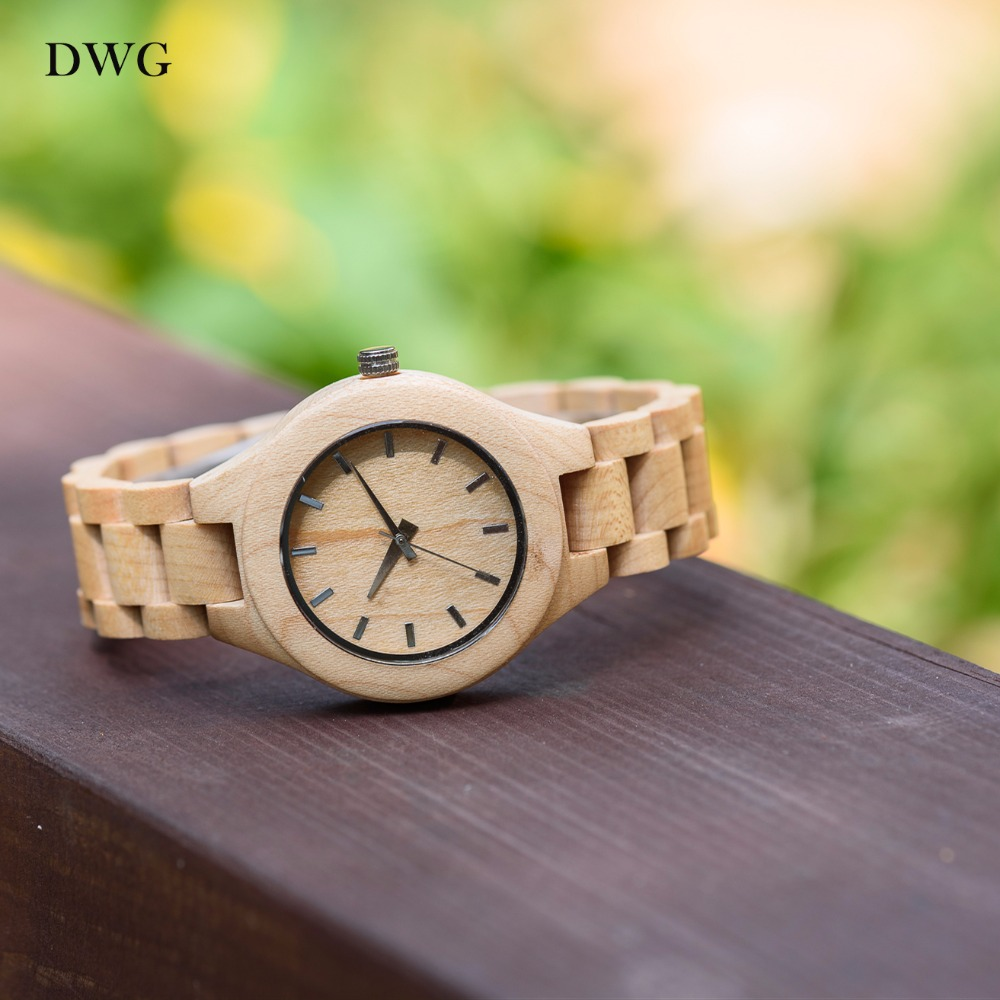 DWG Analog Luxury Wood Watch for Women Newest Quartz Watch Maple Walnut Wooden Wrist Watch for Girls Orologi Donna Reloj Mujer цена