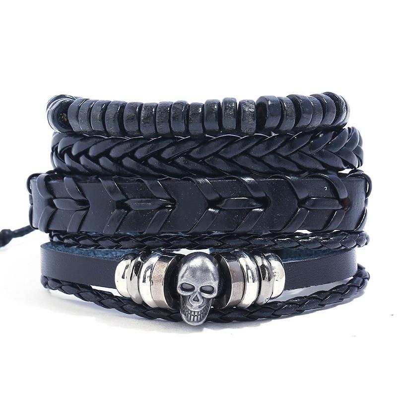 Punk Skull Bracelet Braided...