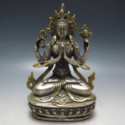 Vynikající čínská měděná zlacená tibetská socha buddhismu - Buddha