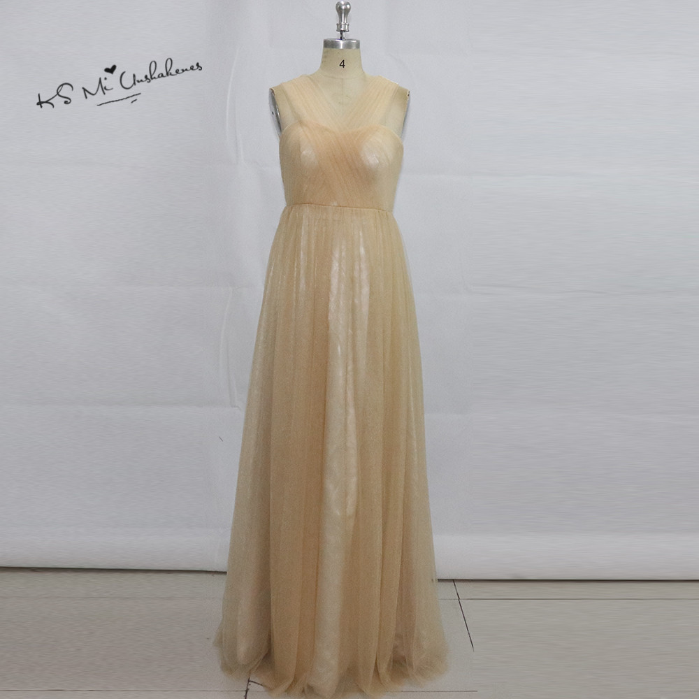 Vestido Madrinha Longo Champagne Tulle   Bridesmaid     Dresses   Long Latest Design Cheap Wedding Guest   Dress   2017 for Weddings Gala