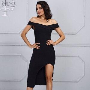 Image 3 - Adyce 2020 New Summer White Bandage Dress Women Vestidos Black Sexy Off Shoulder Bodycon Club Midi Celebrity Runway Party Dress