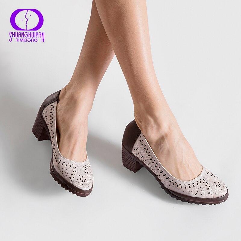 Летний стиль 2017 г. выдалбливают Сандалии для девочек Женская обувь из мягкой кожи Острый носок на высоком каблуке милые женские туфли-лодочки плюс Размеры туфли в ретро-стиле