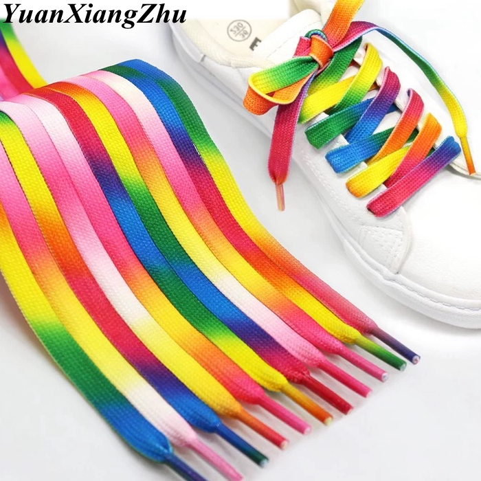 Shoe Lace Canvas Gradient-Print Colour Flat 1pair BC-1 Casual-Chromatic 100CM/120CM