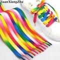 1 пара цветных шнурков с радужным градиентом  плоские парусиновые шнурки  обувь  повседневные хроматические цветные шнурки  80 см/100 см/120 см  в...