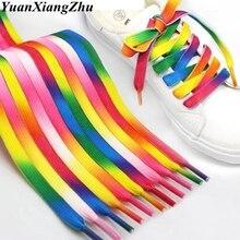 1 par de cordones coloridos arcoíris gradiente de impresión zapatilla plana de lona zapatos de encaje Casual cromático color cordones 80 CM/100 CM/120 CM BC-1