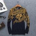 Teste padrão do dragão do estilo chinês qualidade personalidade da moda suéter de lã 2016 Outono & Inverno new chegada de malha camisola dos homens M-4XL
