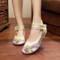 Лето Новый Старый Пекин Женщин Павлин плоская обувь холст национальный вышитые танцевальные одиночные обувь сандалии