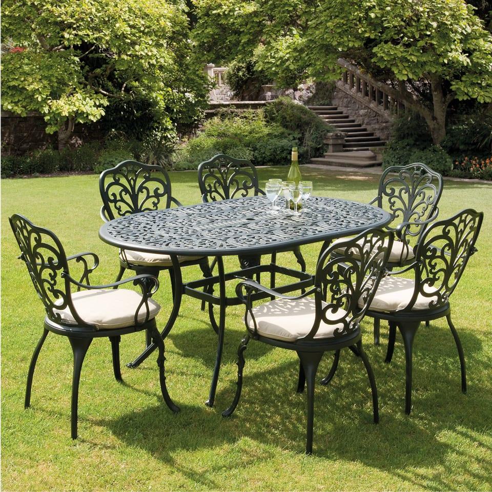 Набор из 7 предметов самых продаваемых литой алюминиевый стол и стул металлическая наружная мебель