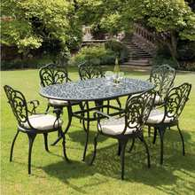 set of 7-piece Best-selling cast aluminum table and chair Outdoor furniture metal