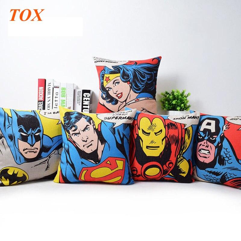 Super Man Hero Pop Art Cartoon Cushion Cover Captain America Superman Iron Man Batman Sofa Chair Decorative Linen Pillow Case