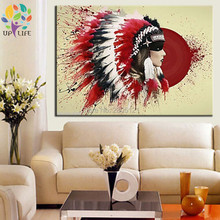 hand painted indian warrior portrait oil painting on canvas red indian figure decoration canvas wall painting free shipping