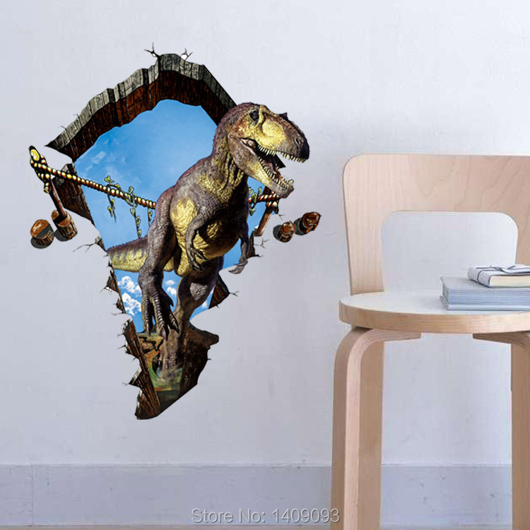 Jurassic World Dinosaur Cracked Wall Vinyl Wall Decals Sticker - 3d dinosaur wall decalsd dinosaur wall stickers for kids bedrooms jurassic world wall