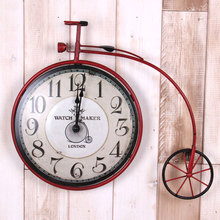 American retro living room wall clock wrought iron ornaments creative bicycle home wall hangings wall murals bar