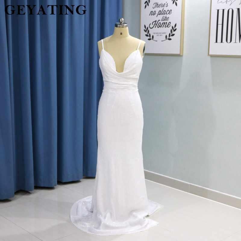 4f9686ec3f5 2019 Sexy Spaghetti Strap Sheath Prom Dresses Backless Glitter White Sequins  Long Evening Dress with Split .