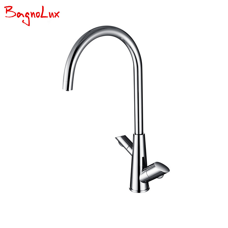 Bagnolux Unique Design 100% Solid Brass High Quality Tri Flow Ro Water Filter 3 Way Double Function Three Ways Kitchen Faucet