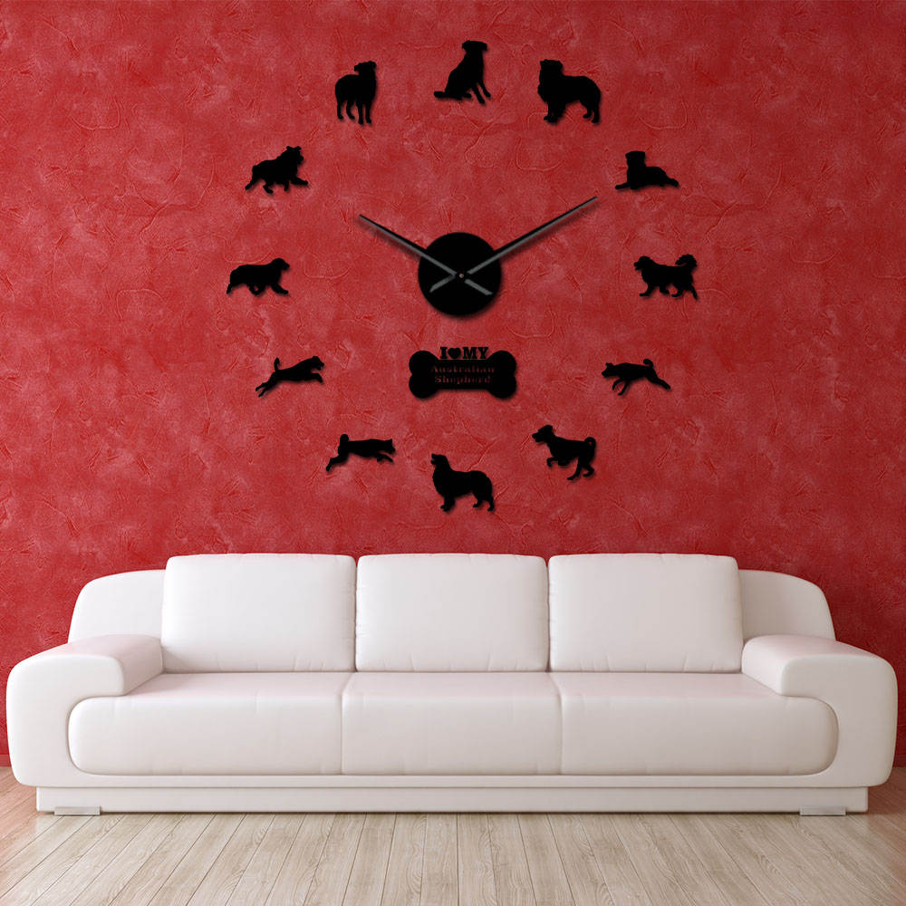 Australian Shepherd Dog Breed Oversized DIY Clock Watch Doggie Pet Self Adhesive 3D DIY Wall Clock Beagle Portrait For Dog Lover