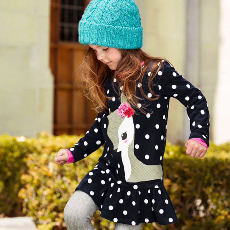Lovely Baby Girls Dress Kids Long Sleeve O-neck Dress One-piece Dots Printed Deer Cotton Toddlers Girl's Dresses Clothes toddlers girls dots deer pleated cotton dress long sleeve dresses page 10