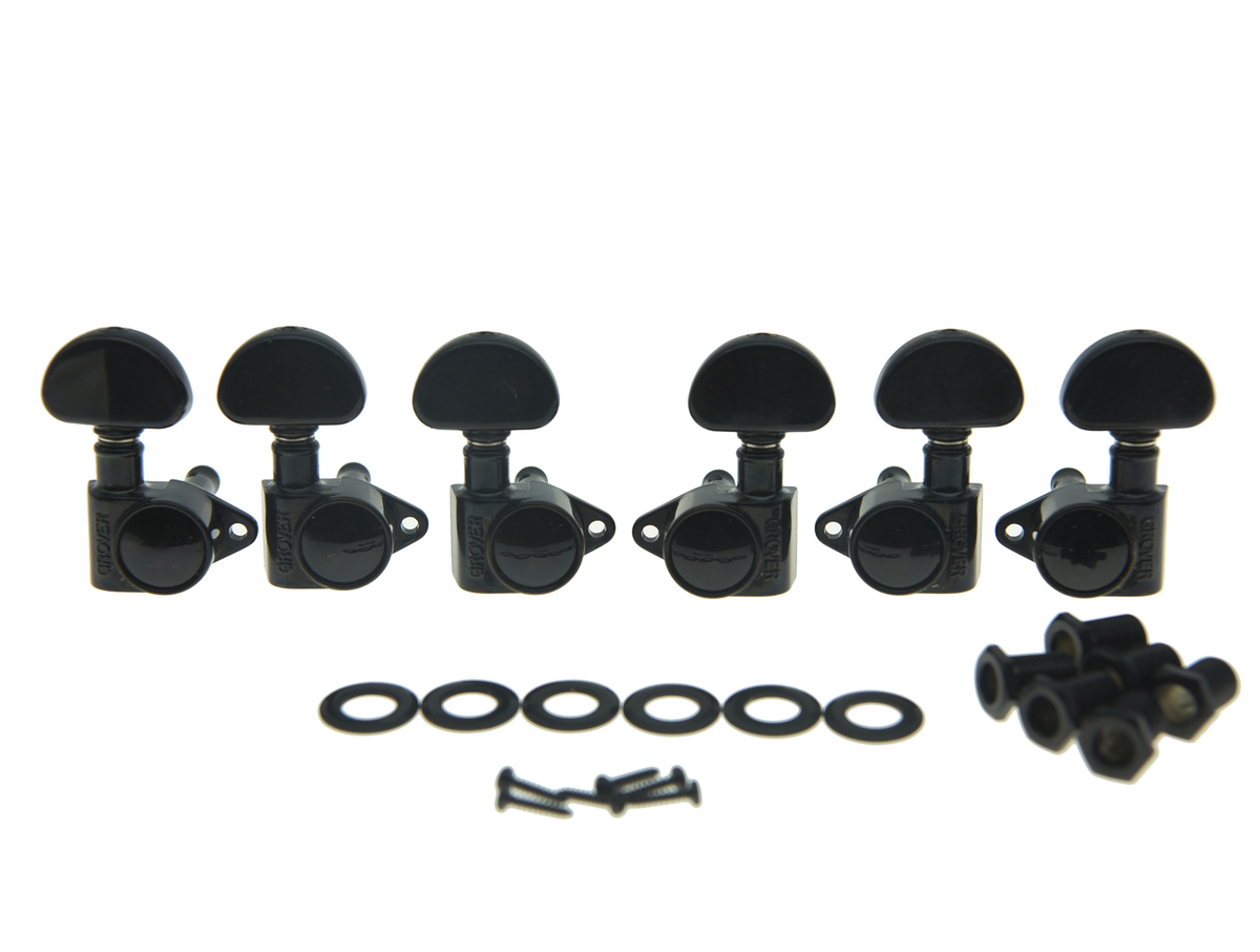 KAISH Grover Rotomatic 102-18 Series Guitar Tuners 3+3 Guitar Tuning Keys 18:1 Guitar Machine Heads Black 102-18BC kaish black p90 high power sound neck