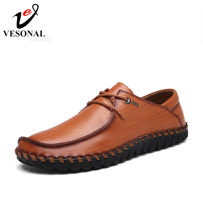 VESONAL 2017 New Handcraft Business Casual Male Shoes Men Adult Brand Quality Genuine Leather Walking Driver Autumn Footwear Man vesonal 2017 quality mocassin male brand genuine leather casual shoes men loafers breathable ons soft walking boat man footwear