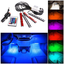 цена на 7 Color 5050 LED Car Light Floor Decorative Atmosphere Lighting Kit Strip Glow Neon Decoration Lamp with Wireless Remote Control