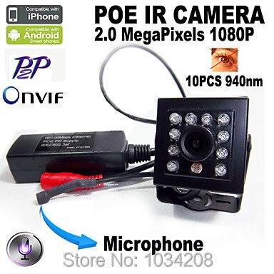 Miniatur 1080 P POE Mini-ip-kamera 2Mp Hd Nachtsicht 940nm IR Audio POE Verdeckte Netzwerk Onvif P2P IR POE Kleinen Ip-kamera