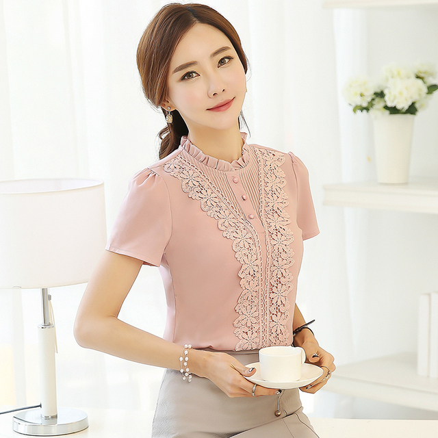 2017 New Arrival Fashion Style Women shirt  Sweet  office  Lady Blouses Plus Size female Short Sleeve Shirt White tops 37F 30