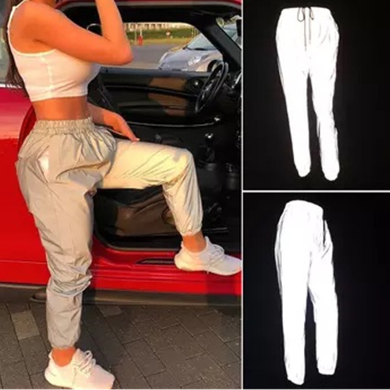 Reflective Pants Nine Pants Harem Casual Pants Hip Hop Elastic Waist Pants 3M Reflective Ladies Fashion Beam Foot Harem 2019(China)