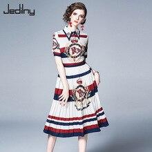 Casual Women Dress 2019 Summer Short Sleeve Single Breasted Crown Print Elegant Party Vestidos