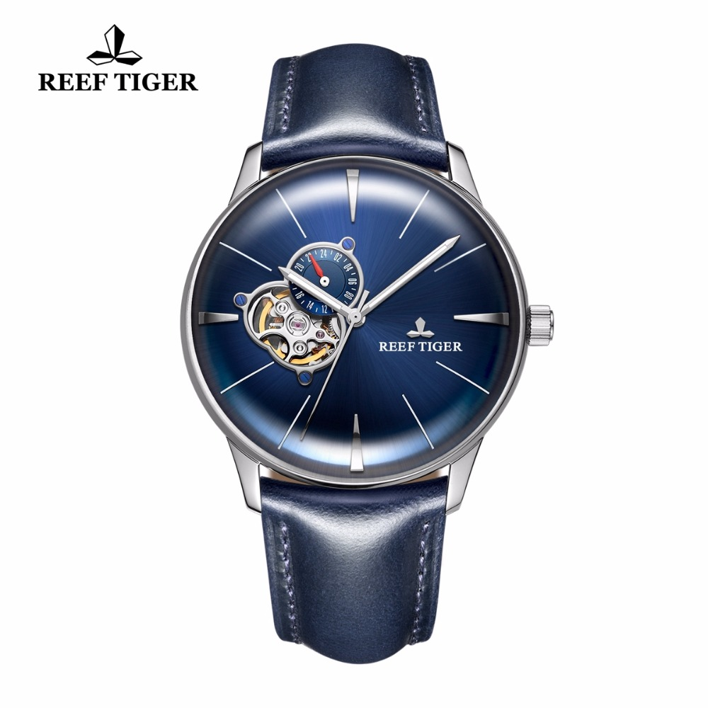 Новый Риф Тигр/RT Tourbillon выпуклая линза часы Для мужчин автоматические часы Сталь синий циферблат часы кожаный ремешок RGA8239