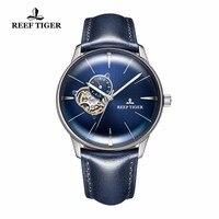 Neue Riff Tiger/RT Tourbillon Konvexe Linse Uhren herren Automatikuhren Stahl Blaues Zifferblatt Uhren Lederband RGA8239