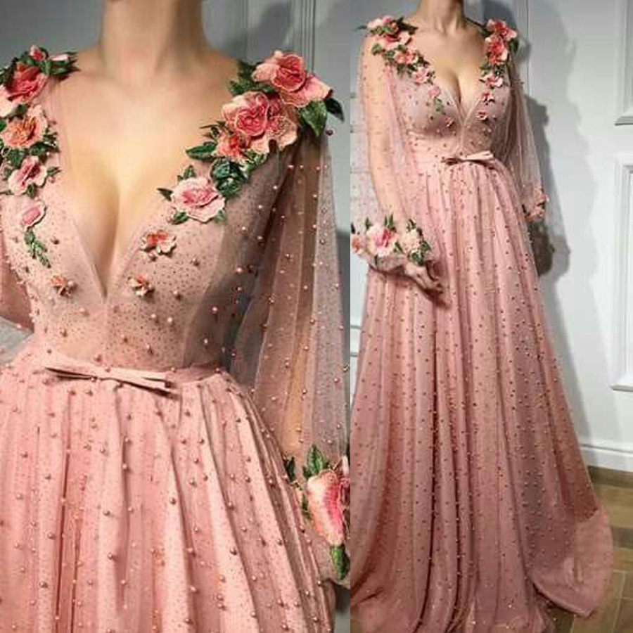 Prom-Dresses Evening-Gowns Long-Sleeves Flower Pink V-Neck A-Line with 3D