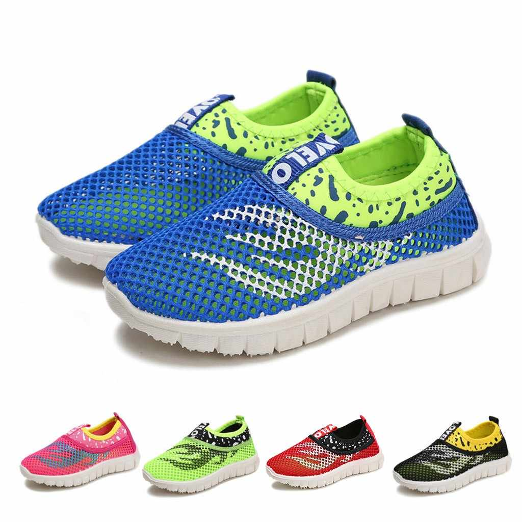 SAGACE Breathable Mesh Chldren Boys Girls Sneakers Shoes Infant Baby Kids Casual Soft Flat Slip-on Outdoor Running Shoes