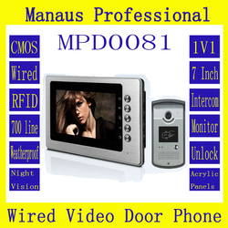 Wholesale One to One Video Doorphone Kit Configuration,Smart Home 7 inch Screen Display RFID Video Intercom Phone D81b