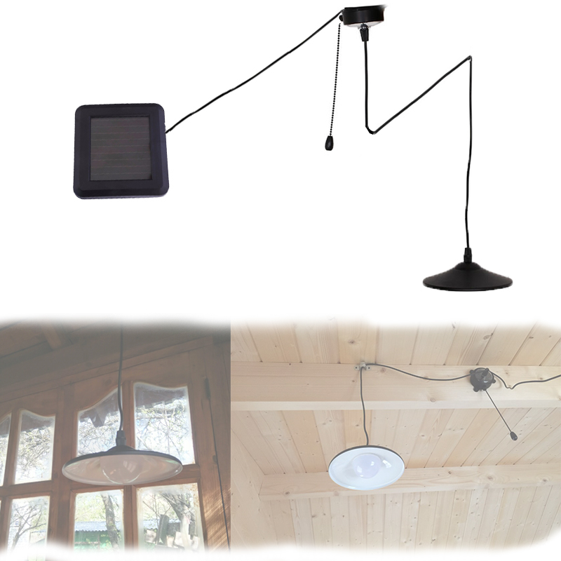 Solar Powered Pendant Lights Black Stainless Steel Body