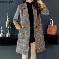 Blends Women Plaid Leisure Slim Turn down Collar Double Breasted Pockets Retro Coats Womens Korean Style All match Elegant Coat