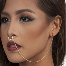 Stainless Steel Nose Rings and Studs Fake Septum Piercing Crystal Nose Hoop Fake Nose Rings&Studs Ear Chain Women Body Jewelry