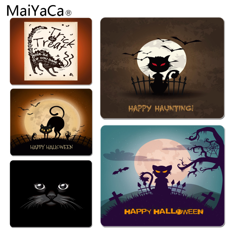 Reliable Maiyaca Hot Sales All Saints Day Trick Or Treat Hallowmas Black Mouse Pad Gamer Play Mats Size For 18x22cm Mousemats