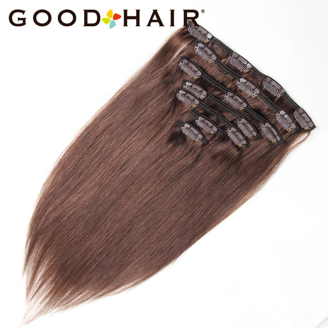 Middle Brown Peruvian Remy Hair Clip In Human Hair Extensions 14 18