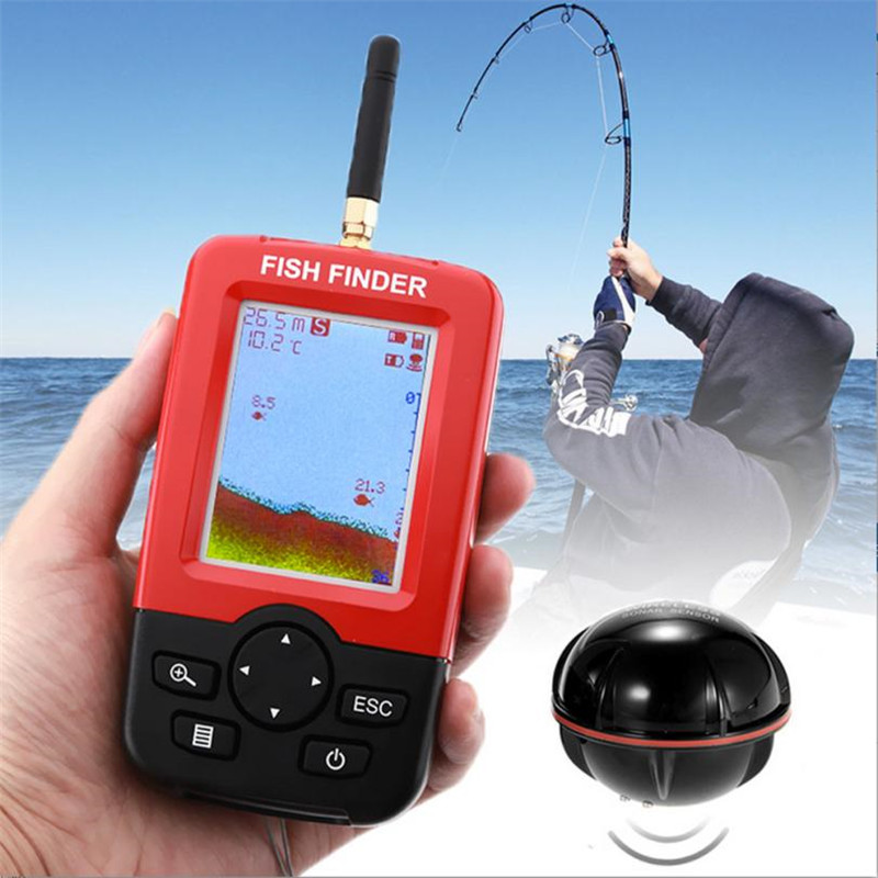 Wireless Remote Fish Finder Depth Fish Finder With 100M Wireless Sonar Sensor Sounder Fish Finder For Lake Sea Fishing #2 lucky fishing sonar wireless wifi fish finder 50m130ft sea fish detect finder for ios android wi fi fish finder ff916