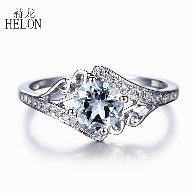 HELON Noble Solid 14k White Gold Round Cut 6mm Aquamarine Diamonds Engagement Wedding Ring Diamonds & Gemstones Anniversary BandHELON Noble Solid 14k White Gold Round Cut 6mm Aquamarine Diamonds Engagement Wedding Ring Diamonds & Gemstones Anniversary Band