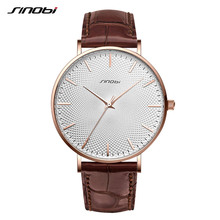 SINOBI New Design Netting Printed Men Watches 316L Steel Leather Waterproof Watch Male Imported Quartz Watch Clock Gifts