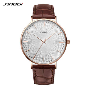 Image 1 - SINOBI New Design Netting Printed Men Watches 316L Steel Leather Waterproof Watch Male Imported Quartz Watch Clock Gifts
