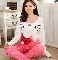 Hello Kitty cat impresos mujeres de los pijamas primavera otoño chándal pijamas pijamas de algodón de manga larga conjunto femenino de la moda caballero