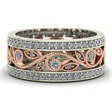 Huitan Female High Quality Ring Plant Design Fashion Women Band With Micro Paved Jewelry Wholesale Lots&Bulk Hot